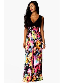Rose Print Maxi Dress by Boohoo