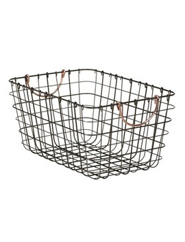 """wire-basket-with-gray-finish-and-copper-handle-16""""x11""""x8""""---threshold by threshold"""