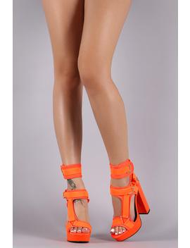 Strappy Elastane Harness Chunky Platform Heel by Urbanog