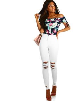 Raw White High Waisted Distressed Skinny Jeggings by Pink Boutique