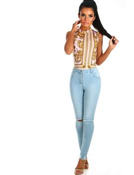 Dare You Light Blue Rip Knee Skinny Jeans by Pink Boutique