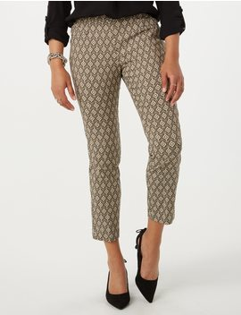 Petite Printed Classic Fit Super Stretch Pants by Dressbarn