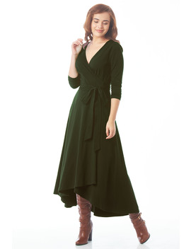 Cotton Knit High Low Hem Wrap Dress by Eshakti