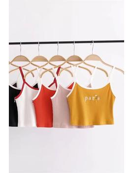 Paris Rose Embroidery Strappy Crop Top by Lupsona