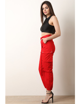 High Waisted Eyelet Belted Cargo Pants by Urbanog