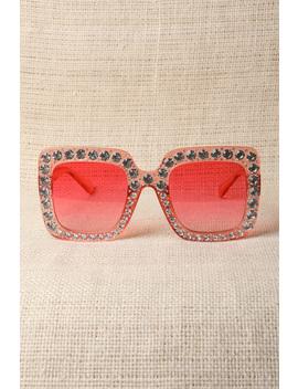 Rhinestone Trim Plastic Frame Oversized Sunglasses by Urbanog