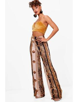 Scarf Print Slinky Wide Leg Trousers by Boohoo