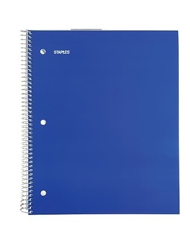 "Staples® 3 Subject Notebook, 8 1/2"" X 11"", College Ruled, 120 Sheets by Staples"