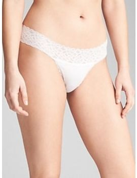 Stretch Cotton & Lace Thong by Gap