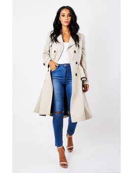 Aviana Beige Double Breasted Trench Coat by Faux England