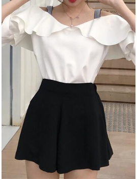 White Cold Shoulder Ruffle Trim Flare Sleeve Chic Women Blouse by Choies