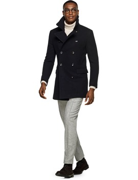 Navy Double Breasted Coat by Suitsupply