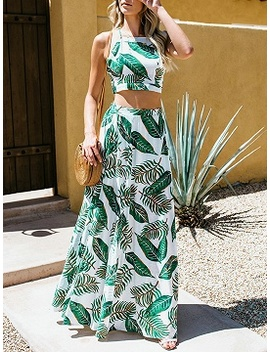 Green Leaf Print Chic Women Crop Cami Top And High Waist Maxi Skirt by Choies