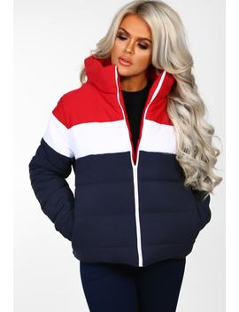 Ultra Chill Multi Colour Block Hoodless Puffer Coat by Pink Boutique