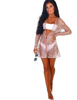 Walk Of Fame Rose Gold Sequin Long Sleeve Cover Up by Pink Boutique