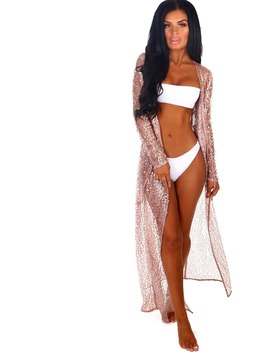 Showgirl Rose Gold Sequin Long Sleeve Maxi Cover Up by Pink Boutique