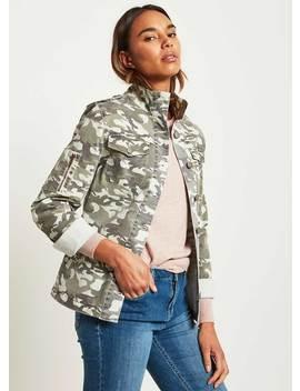 Light Khaki Camo Shirt Jacket by Mint Velvet