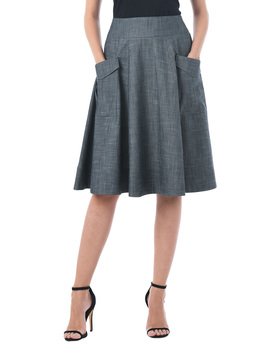 Cargo Pocket Cotton Chambray Skirt by Eshakti