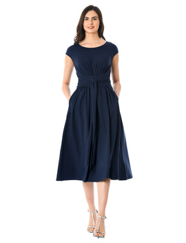 Cotton Knit Pleated Obi Belt Dress by Eshakti
