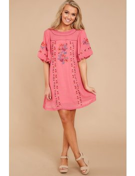 Through The Phase Pink Embroidered Dress by Umgee