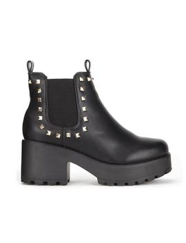 Black Chunky Platform Pyramid Studded Chelsea Boots by Koi Footwear