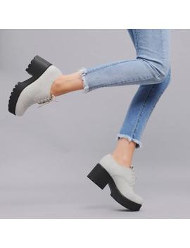 Pastel Stone Low Top Chunky Platform Lace Up Shoes by Koi Footwear