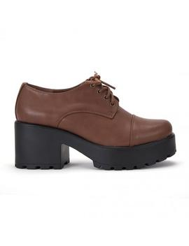 Brown Top Chunky Platform Lace Up Shoes by Koi Footwear