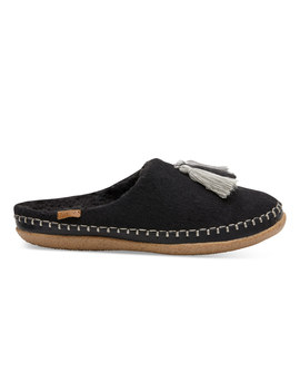 Black Wool Tassel Women's Ivy Slippers by Toms