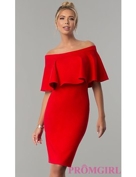 Short Red Party Dress With Off The Shoulder Flounce by Promgirl