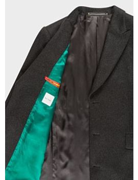 Men's Dark Grey Wool And Cashmere Blend Peak Lapel Epsom Coat by Paul Smith