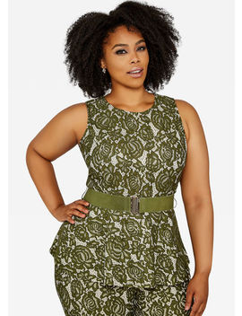 Belted Floral Lace Peplum Top by Ashley Stewart