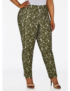 Bonded Floral Lace Skinny Pant by Ashley Stewart