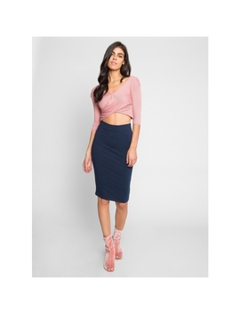 Totally Right Fitted Skirt In Navy by Wet Seal