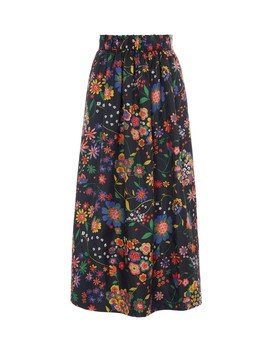Tech Floral Smocked Waistband Skirt by Tibi