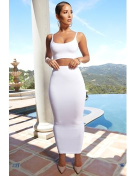 Up Close And Personal High Waisted Maxi Skirt In White by Oh Polly