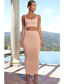 Up Close And Personal High Waisted Maxi Skirt In Blush by Oh Polly