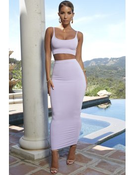 Up Close And Personal High Waisted Maxi Skirt In Lilac by Oh Polly
