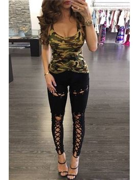 Black Lace Up Leggings by Trendeo
