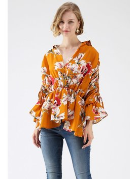 Take Me Hands Bubble Sleeves Wrap Top In Orange by Chicwish