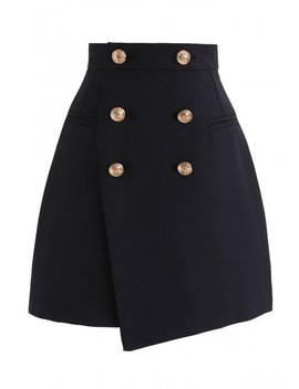 Medal Of Vogue Flap Bud Skirt In Navy by Chicwish