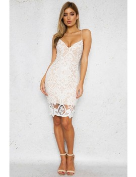 Laced Off Dress   White/Beige Lace by Dolly Girl Fashion