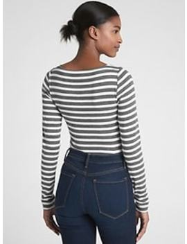 Modern Stripe Long Sleeve Boatneck T Shirt by Gap