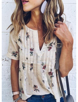 "<Span Itemprop=""Name"" Content=""Casual V Neck Loose Fit Floral Printed Tee Shirt"">Casual V Neck Loose Fit Floral Printed Tee Shirt</Span> by Oasap"