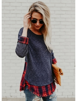 "<Span Itemprop=""Name"" Content=""Round Neck Long Sleeve Plaid Panel Tee Shirt"">Round Neck Long Sleeve Plaid Panel Tee Shirt</Span> by Oasap"