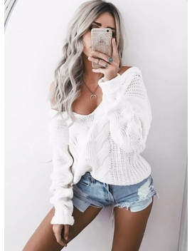 v-neck-solid-color-knit-pullover-sweater by oasap