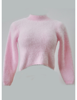 "<Span Itemprop=""Name"" Content=""High Neck Long Sleeve Cropped Mohair Sweater"">High Neck Long Sleeve Cropped Mohair Sweater</Span> by Oasap"