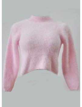 "<Span Itemprop=""Name"" Content=""High Neck Long Sleeve Cropped Mohair Sweater"">High Neck Long Sleeve Cropped Mohair Sweater</Span> by Oasap"