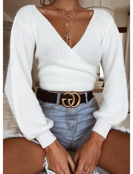 """<Span Itemprop=""""Name"""" Content=""""V Neck Long Sleeve Loose Pullover Sweater"""">V Neck Long Sleeve Loose Pullover Sweater</Span> by Oasap"""