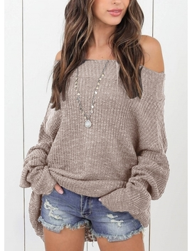 "<Span Itemprop=""Name"" Content=""Sexy Off The Shoulder Long Sleeve Loose Sweater"">Sexy Off The Shoulder Long Sleeve Loose Sweater</Span> by Oasap"
