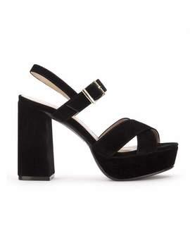 Single Strap Slingback Sandal In Black Suede by Koi Footwear